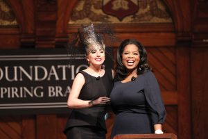 2 29 2012  Lady Gaga and Oprah Winfrey at the launch  of the Born This Way Foundation