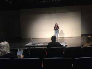 "Student on stage auditioning for ""The Panza Monologues"""