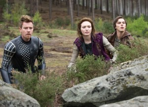 "Elmont (Ewan McGregor,) Isabelle (Eleanor Tomlinson,) and Jack (Nicholas Hoult) from ""Jack the Giant Slayer."" Photo courtesy of Warner Bros. Pictures."