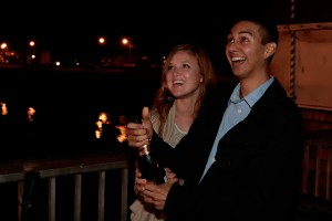 Student Megan Spencer and alumnus Mark Estrada celebrate their recent engagement.
