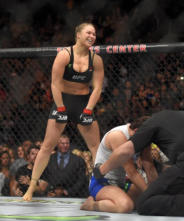 Ronda Rousey celebrating her victory