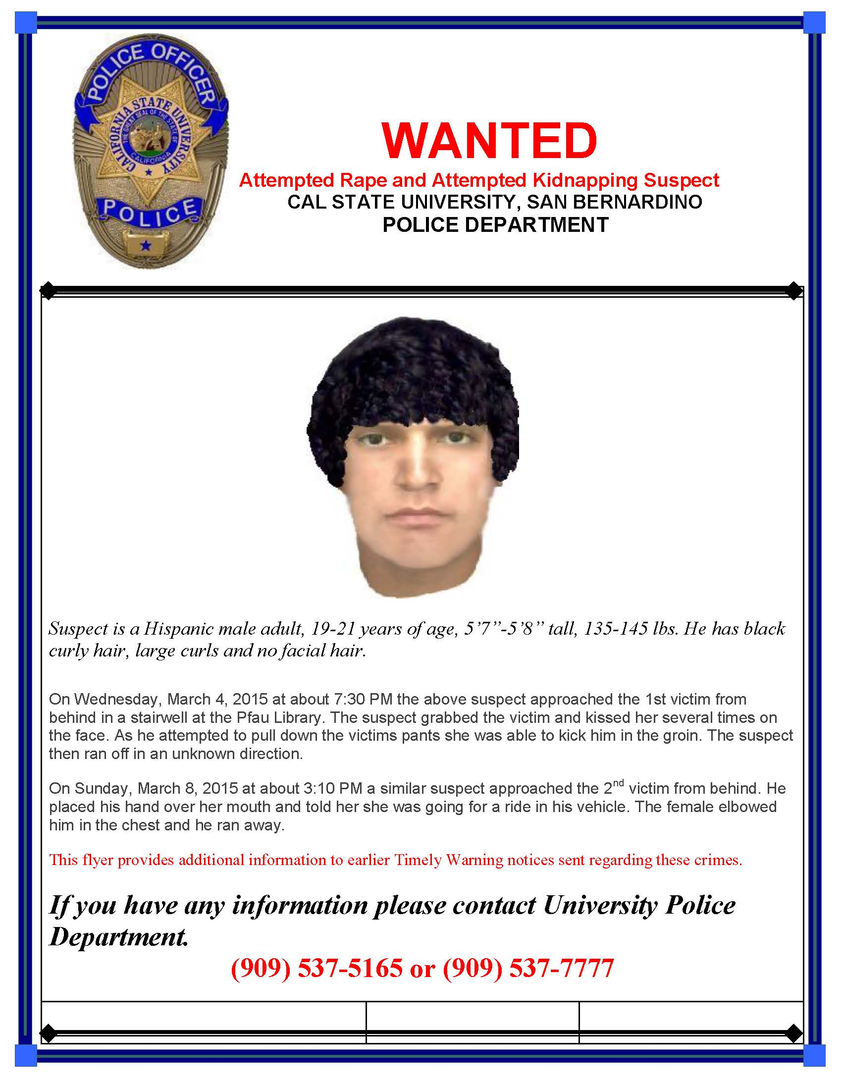Poster of possible suspect released