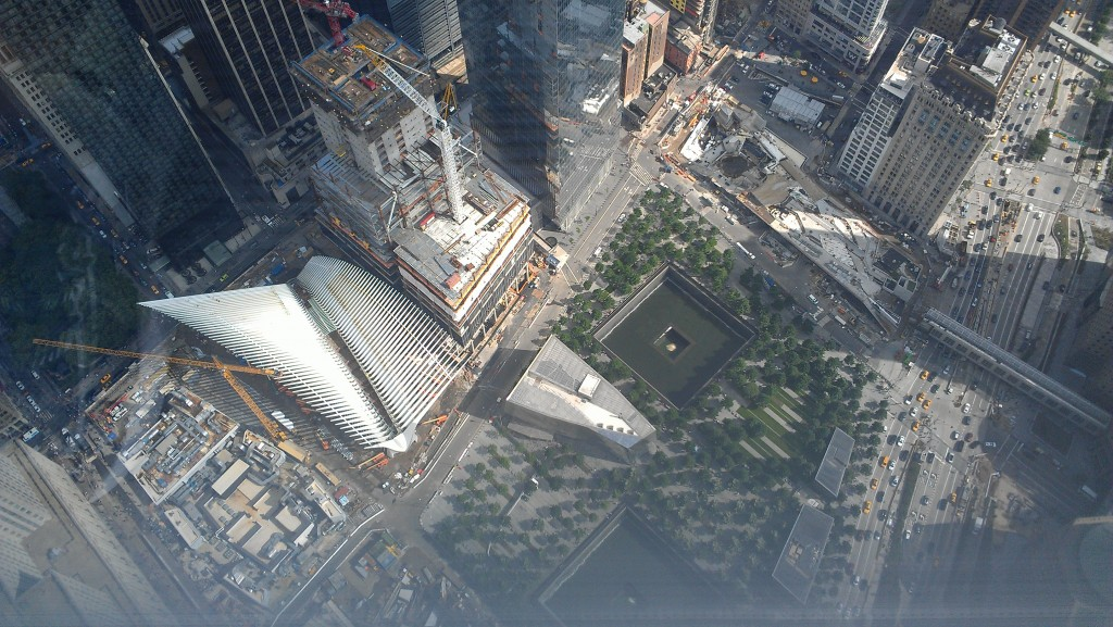 9/11 Memorial seen from 100 stories above in One World Trade Center.