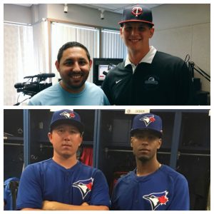 Top: Tyler Wells joined Pep Fernandez on The Inland_Sports Show to sound off on his MLB Draft selection by the Minnesota Twins. Bottom: Will Ouellette's first game with teammate Joshua Palacios