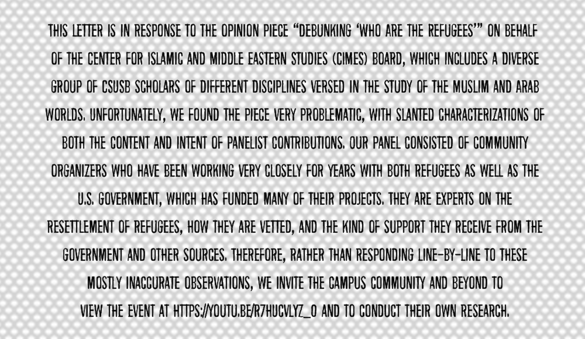 "CIMES response to ""Debunking: 'Who Are the Refugees'"""